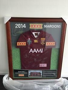 State of Origin 2014 signed and framed Maroons Jersey