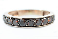 Women's 1.00 ct SI2 Amber Color Diamond Eternity Band in 10k Solid Rose Gold