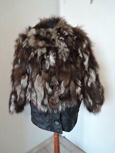 Vintage Italian brown real silver fox fur furcoat UK 1012 S M 36 38 fur coat