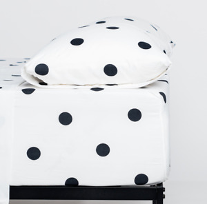 Cosy House Collection Ultra Soft Polka Dot Pattern Bed Sheet Set - Black & White