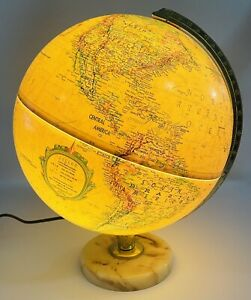"Vintage Replogle 12"" Light Up Globe World Premier Series Marble Base"