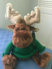 Harry & David Christmas Moose in Green Sweater Plush 17 inches of Cuteness!