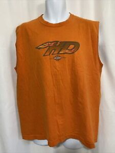 MensHarley Davidson Orange T Shirt Tank Top Size XL