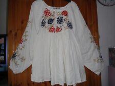 Bnwt Stunning embellished  folk Boho shirt    size 14