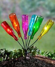Solar Lighted Metal Bottle Tree Stake w/ Colorful Bottles Garden Yard Lawn Decor