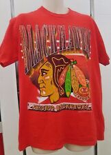 VTG Chicago Blackhawks T Shirt NHL 1994 Large Red Hockey Made In USA 1990's