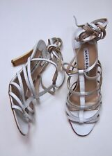 NWOT Manolo Blahnik 38.5 EU 8.5 USA White Strappy Skinny Sandals Heel NEW ITALY
