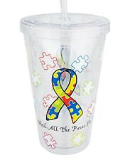 Autism Awareness Puzzle Piece Reusable Travel Cup with Straw, Helps Sharonsweb