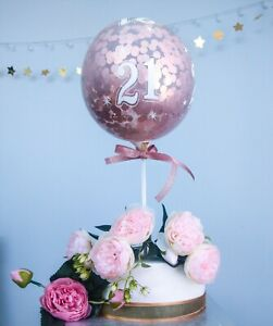 Rose Gold Balloons Cake topper Age Birthday 30 21 18 Confetti Stick Party Decor