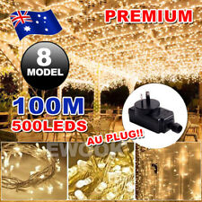 500LED 100M Warm White Fairy Christmas String Lights Wedding Party Garden SAA AU