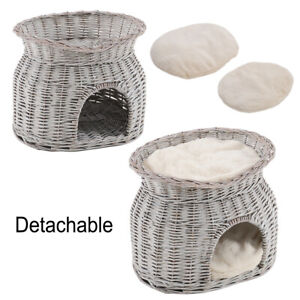 Wicker Willow Pet Bunk Plush Bed Basket Cat Kitten Puppy Small Dog Animal Houses