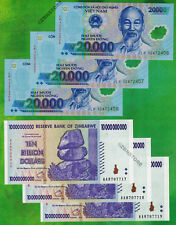 3 x 10 Billion Zimbabwe Dollars + 3 x 20000 Vietnam Dong Bank Notes Uncirculated