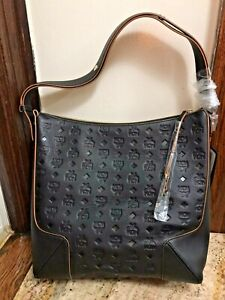 MCM Large Klara Monogram Leather Hobo Bag