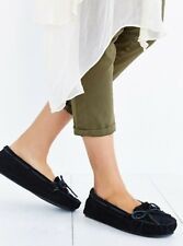 Minnetonka Cally Slipper Black Suede & Faux Fur Pile Lined Moccasins Size 10 New