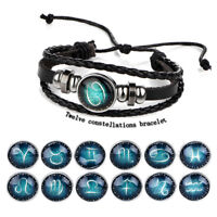 12 Zodiac Sign Bracelets Men Women Woven Bracelet Constellation Bracelet Jewelry