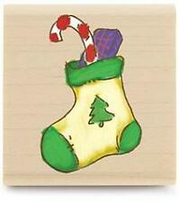 Stuffed stocking Christmas rubber stamp Stampabilities