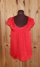 RIVER ISLAND  scarlet red satin chiffon short sleeve blouse tunic top 8 34