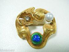 Art Nouveau Floral & Pearl Pin Antique Bohemian Silver Foil Peacock Eye