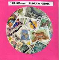 FLORA E FAUNA-LOTTO 120 FRANCOBOLLI DIFFERENTI , VARI PAESI BELLISSIMI PERFETTI!