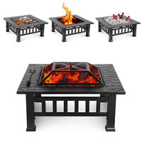 32'' Outdoor Fire Pit BBQ Firepit Garden Square Stove Patio Heater Camping Party