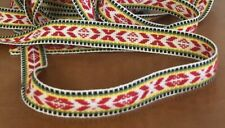 Scandinavian Folk Art Ribbon Hand Woven Red Green Yellow Per Yard
