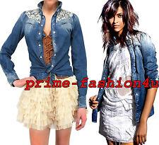 Dolce & Gabbana D&G Blue Washed Denim Floral Lace Yoke embellished Shirt Blouse