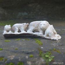 Bears Group Carved 169mm Length in Deer Antler Carving ST497 Table Decor
