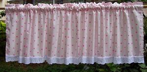 Pink Polka Dot Cotton Cafe Curtain/ lace Kitchen Curtain freeshipping