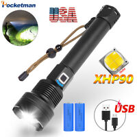 200000lm XHP90 Tactical LED Flashlight Torch USB Rechargeable 18650 26650 Zoom