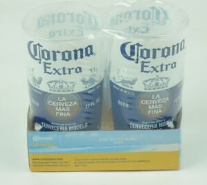 Corona Extra 8oz Bottle Cup 2 Pack Cerveza Beer Beverage Drink Acrylic Glass