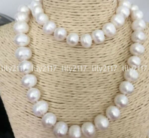 Beautiful Natural 12-13mm White South Sea Baroque Pearl beads Necklace 34'' AAA