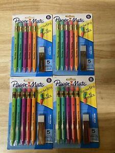 PaperMate Handwriting Triangular Mechanical Pencil w Lead & Eraser Refills 4 PK