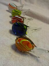 5 Vintage Hand Blown Art Glass Fish Sculpture