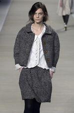 CHLOE Chloé Net-a-Porter RUNWAY Gray Wool Tweed Swing Jacket Coat Blazer M 6 T40