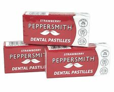 PEPPERSMITH STRAWBERRY DENTAL PASTILLES - SUGAR FREE - 100% XYLITOL 3x15g