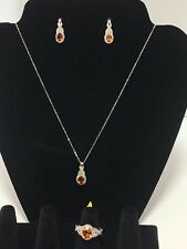 Santa Ana Madeira Citrine, White Topaz Ring Sz6, Earrings and Pendant With Chain