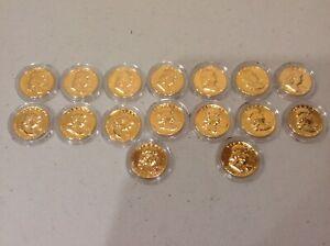 1948-63 Franklin Hald Dollar Set 16 Coins 24kt Plated Gold!