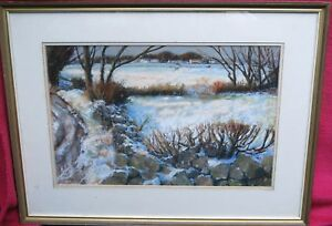 """Pastel Landscape Painting """"A Winter Scene"""" by Barry Paine"""