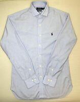 Ralph Lauren Polo Blue Slim Fit Cotton Stretch Easy Care Dress Shirt Size 15.5