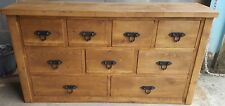 SOLID WOOD RUSTIC CHUNKY 9 DRAWER CHEST OF DRAWERS WOODEN MULTI DRAWER CHEST