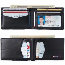 Alpine Swiss Mens Slimfold Wallet RFID Safe Bifold Genuine Leather ID Window