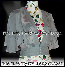 KATE MOSS TOPSHOP 40s GREY SHEER CHIFFON JACKET BLOUSE BOLERO FLUTTER UK8 10 12