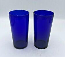 Pair of 2 Cobalt Blue Glass Tumblers/High Ball Glasses