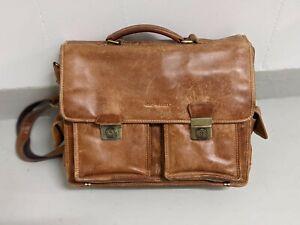 Greenburry Aktentasche (Lehrertasche) Leder braun antik 3 Fächer Vintage 1710-25