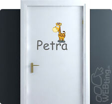 Giraffe Türaufkleber Aufkleber Wunschname Kindername Baby Türschild Name Farbe