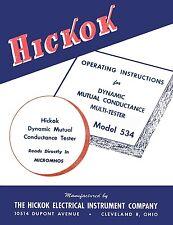Hickok 534 Dynamic Mutual Conductance Tube Tester Manual