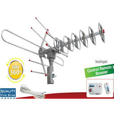 Outdoor Amplified HD TV 360-Degree Rotation Antenna Digital UHF/VHF FM Radio