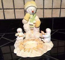 Antique SNOWMAN & PENGUIN Make SMORES Primitive Yankee Candle TeaLight Holder #