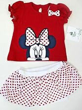 Disney Baby Girls' Valentine Minnie Mouse 2 Piece Top and Skirted Short Set 0-3M
