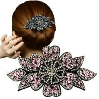 Women's Flower Hair Clips Pins Slide Ponytail Crystal Hair Claw Accessories Show